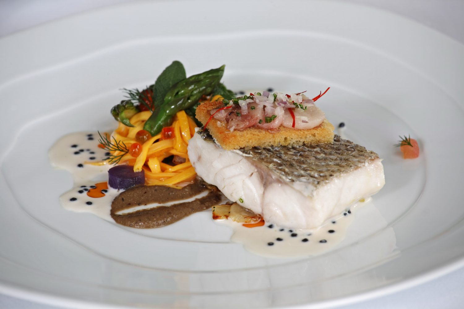 Atlantic Striped Sea Bass at The Restaurant View at The Yeatman Relais & Chateaux