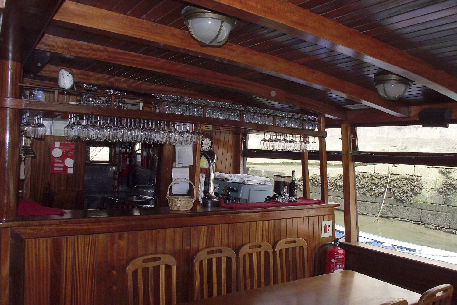 Bar inside the rabelo boat during the 6 Bridges Cruise