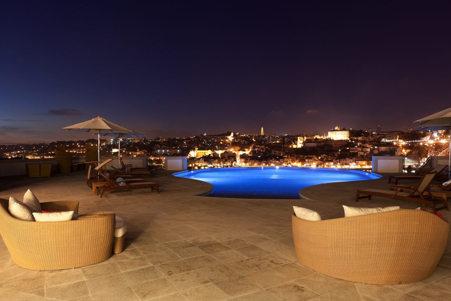 Infinity Pool Outdoor at Nightat Yeatman Hotel Relais & Chateaux