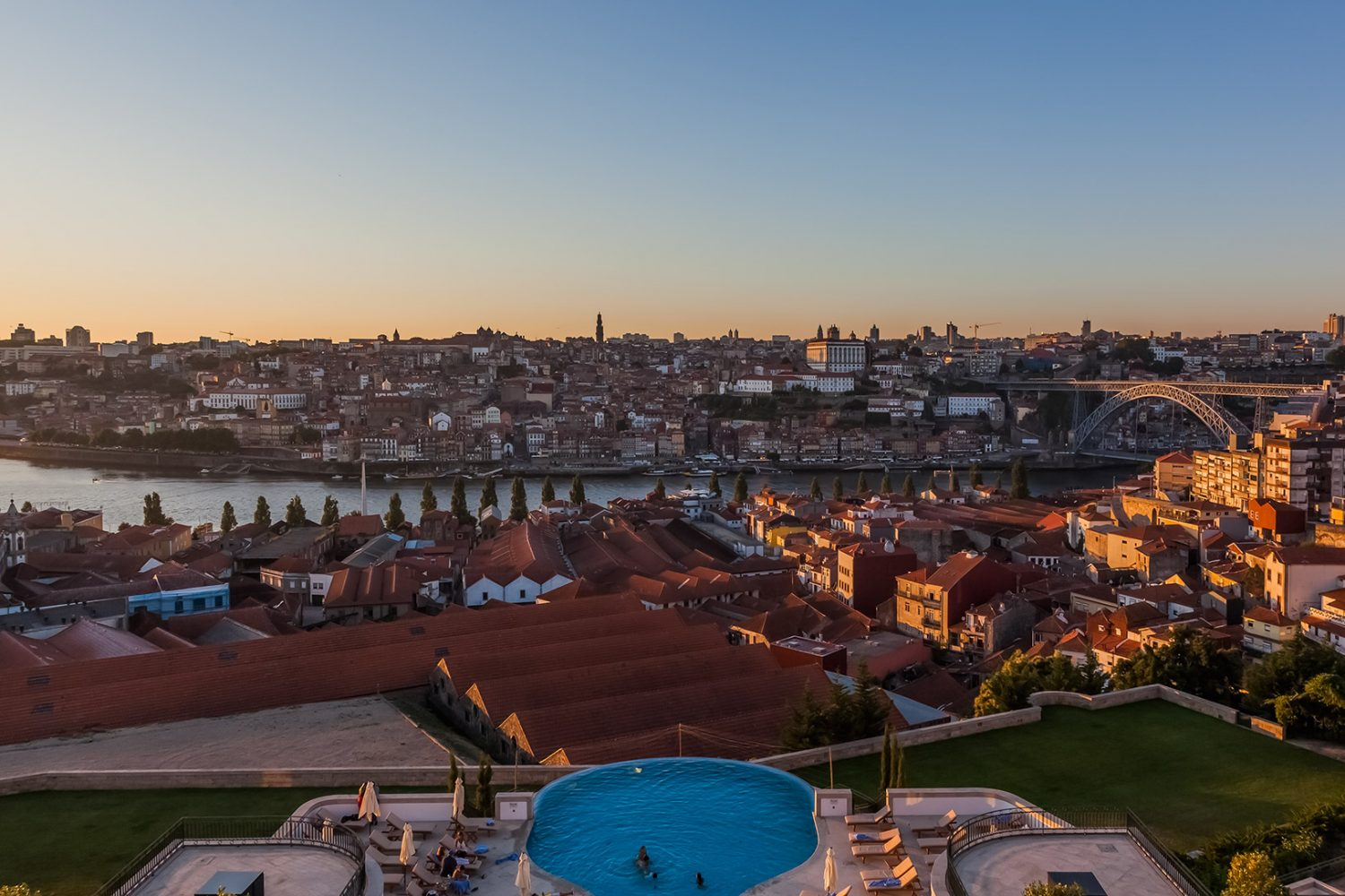 Panoramic view to Ponte Luis I and Porto from Yeatman Hotel Relais & Chateaux