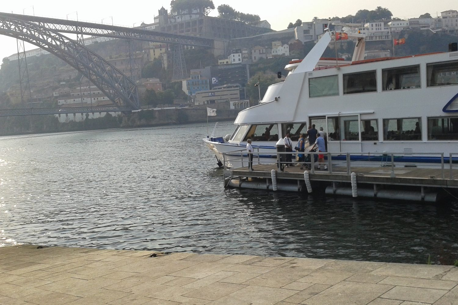 View over the bridge and boat for a Porto Regua douro cruise