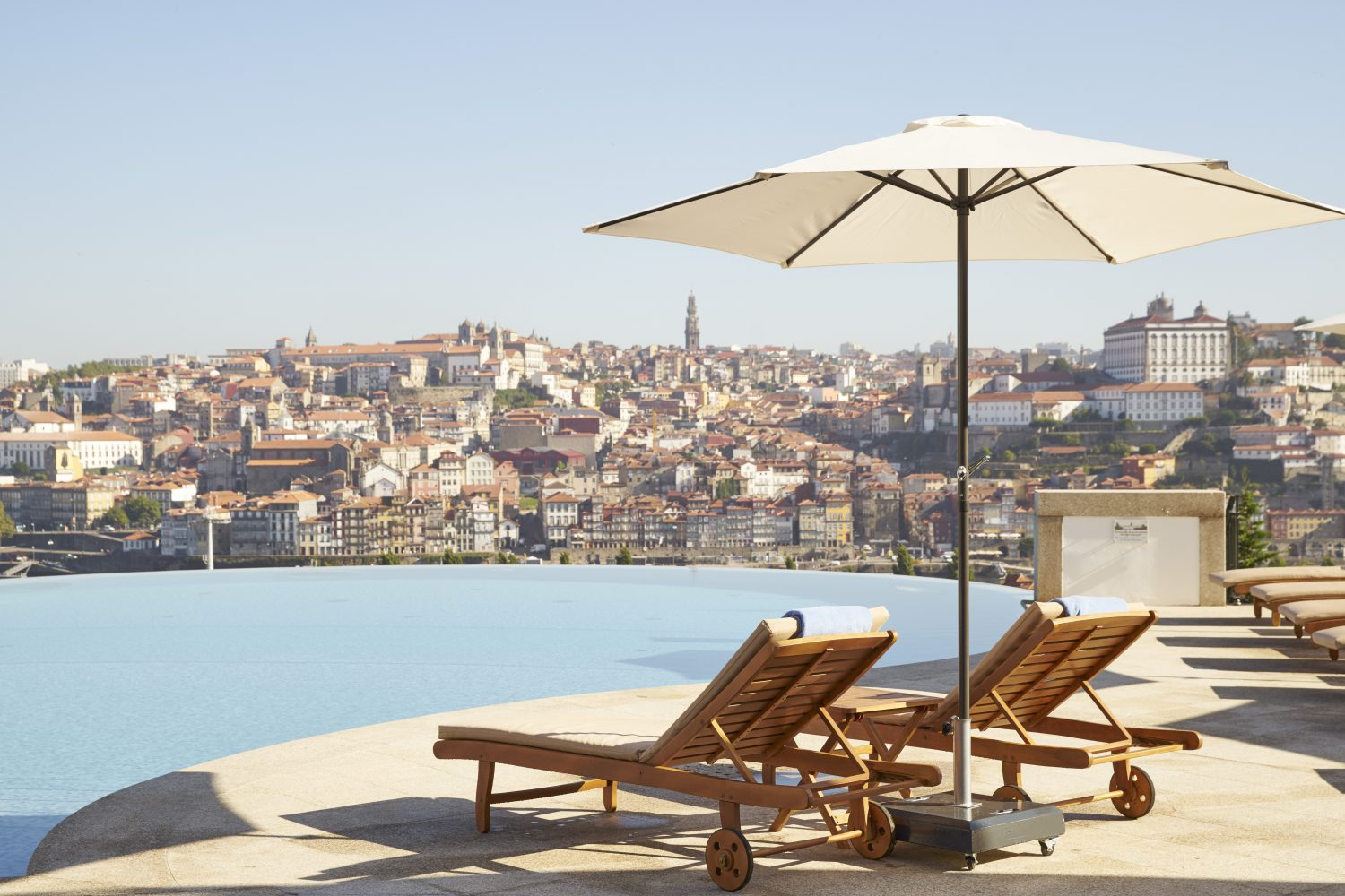 View to Porto from Infinity Pool Outdoor at Nightat Yeatman Hotel Relais & Chateaux